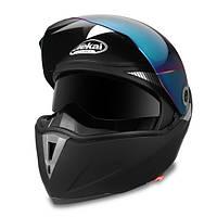 Мотоцикл Шлем двойной козырек с флип-рейтом Полный ролик для мотокросса Матовый черный