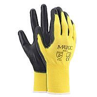 12 Пары Полиэтиленовая обработка с покрытием из нитрила Перчатки Сад Конструкция Grip Anti-Slip Size M/L/XL