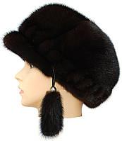 Меховая мягкая кепка норковая,кепка резаная (черная)