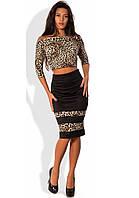 Леопардовый костюм двойка юбка и топ