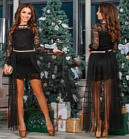 Шикарное выходное вечернее нарядное гипюровое платье костюм с фатиновой юбкой украшением камнями на новый год