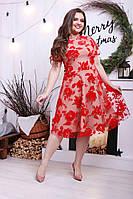 Платье больших размеров 48+ из сетки с принтом из флока с подкладкой  / 2 цвета  арт 3164-5