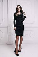 Женское Платье с кружевом черное