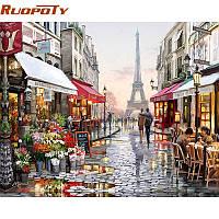 RUOPOTY Paris Street DIY Картина по номерам Картина с ручным рисунком Картина на холсте Домашняя стена Картинка для гостиной Уникальный