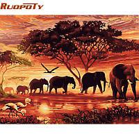 RUOPOTY Elephants Landscape DIY Цифровая живопись по номерам Современная картина на холсте из искусственного искусства Уникальный подарок для домашнег