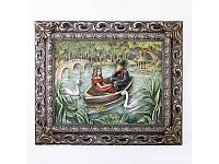 """Картина барельеф """"Пара влюбленных в лодке"""" цветная"""