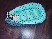 """Кокон-гнездышко """"Голубой с мурашками"""" для новорожденных, фото 1"""