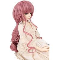 Новый 8-9 дюймов 22 см-24 см BJD Кукла Волосы Парик Розовый Curly Волосы 1/3 BJD SD Кукла Парик