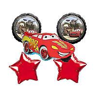 Фольгированные воздушные шары набор из 5 шаров,  фигура тачка Маквин, 22 дюйма/60 см 1 штука, красная звезда 1
