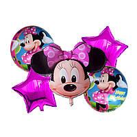 Фольгированные воздушные шары набор из 5 шаров,  фигура Минни Маус с бантиком 28 дюймов/70 см, 1 штука, розова