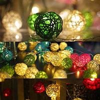 Батарея Powered 1.8M 10LEDs Rattan Ball Fairy String Lights для Рождества Сад Party