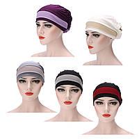 ЖенскоеМускулистыйстретч-турбанШапкаЗимнийтеплый Шапка Хемо-колпачок Волосы Обруч для головы головы