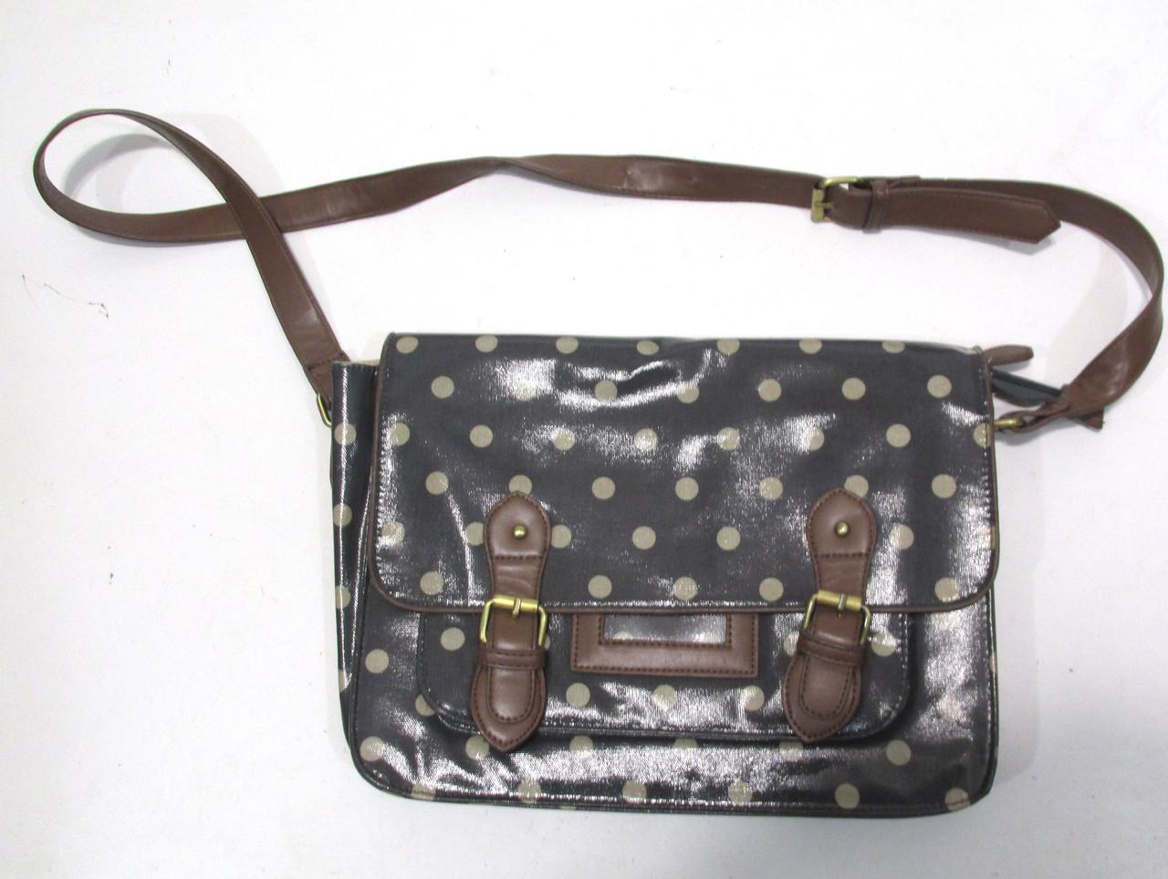 Сумочка чемоданчик коричневая, в горошек, 36х26 см Отл сост!