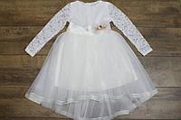 Гипюровое платье с фатиновой юбкой. - 128 рост.