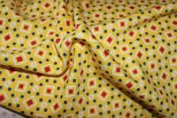 Ткань французкий трикотаж желтый ромбик, фото 1