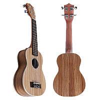 21 дюймов 4 String Сопрано Укулеле Ручная работа Zebra Деревянный инструмент гавайской музыки