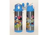Детский стильный термос T78 500 мл с трубочкой Микки Маус и Минни Маус, маленький термос для питья