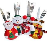РождественскаявечеринкаДомашнееукрашениестолаСнеговик Elderly Ek Knife Fork Сумка Cover Suit Toys Kids Gift