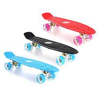 "22"" СветодиодныйUpFishSkateboard 4 PU Wheel Single Warping Board Подростки Дети Скейтборд"
