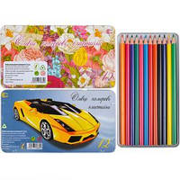 Карандаши цветные 12 цветов металлическая коробка