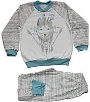 Пижама теплая для мальчика, кофейно-бирюзовая, волк-индеец, рост 128 см, ТМ Ля-ля