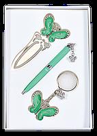 """Набор подарочный """"fly"""": ручка шариковая + брелок + закладка, зеленый ls.132001-04"""