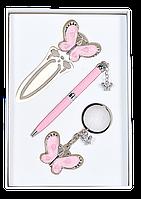 Подарочный набор langres ls.132001-10 розовый fly ручка шариковая + брелок + закладка