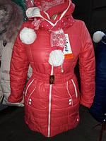 Зимнее пальто+шапка с шарфом р.134,140,146 см