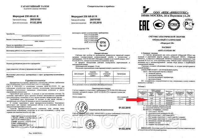 """класс прибора указан в паспорте в разделе """"Технические характеристики электросчетчика"""""""