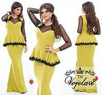 Вечернее платье длинное из дайвинга с сеткой и кружевом