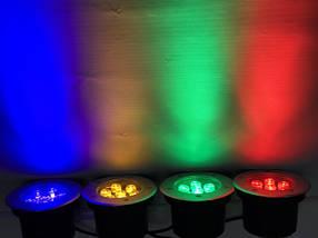 Светодиодный тротуарный линзованный светильник LM988 7W красный, синий, зеленый, желтый Код.59139