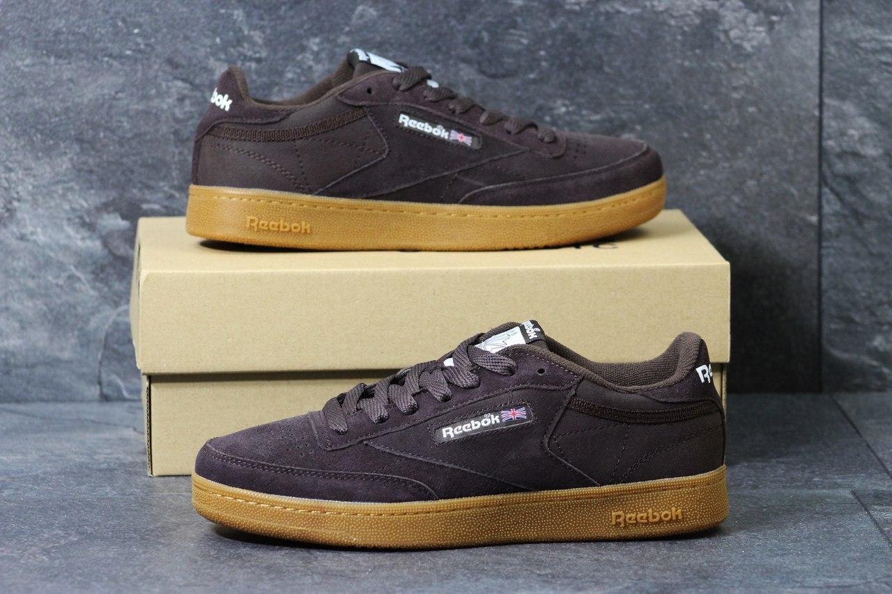 Мужские кроссовки Reebok кожаные,замшевые коричневые