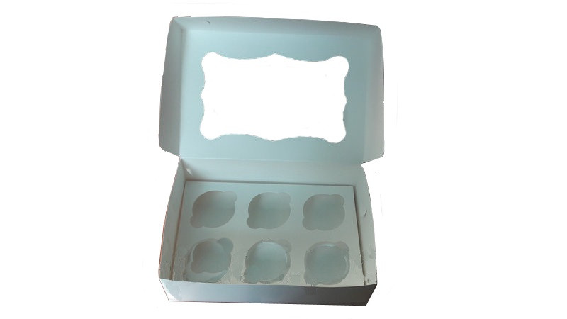 Коробка для капкейков, кексов и маффинов 6 шт 250*170*80 (с окошком) мм.