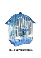 Клетка для птиц Мини-2 Лори, кормушка, поилка, жердочка, разборная (цинк), 330х230х470мм
