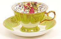 """Кофейный набор/чашка с блюдцем из фарфора """"Полевые цветы"""" 180 мл"""