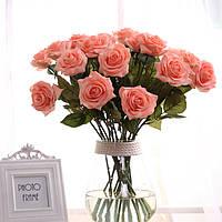 Розовые искусственные цветы Одноместный филиал Фальшивый цветок для домашнего украшения Свадебное Увлажняющие шелковые розы