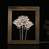 KCASA FL-723 3D-фоторамка Иллюминатор LED Ночной свет Деревянный розовый стол Декоративный USB Лампа Для украшения декора интерьера спальни Рождес