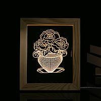 KCASA FL-721 3D-фоторамка LED Ночной свет Деревянная ваза Декоративные рождественские подарки USB Лампа