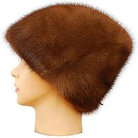 Зимняя женская шапка норковая,Козачок (орех)