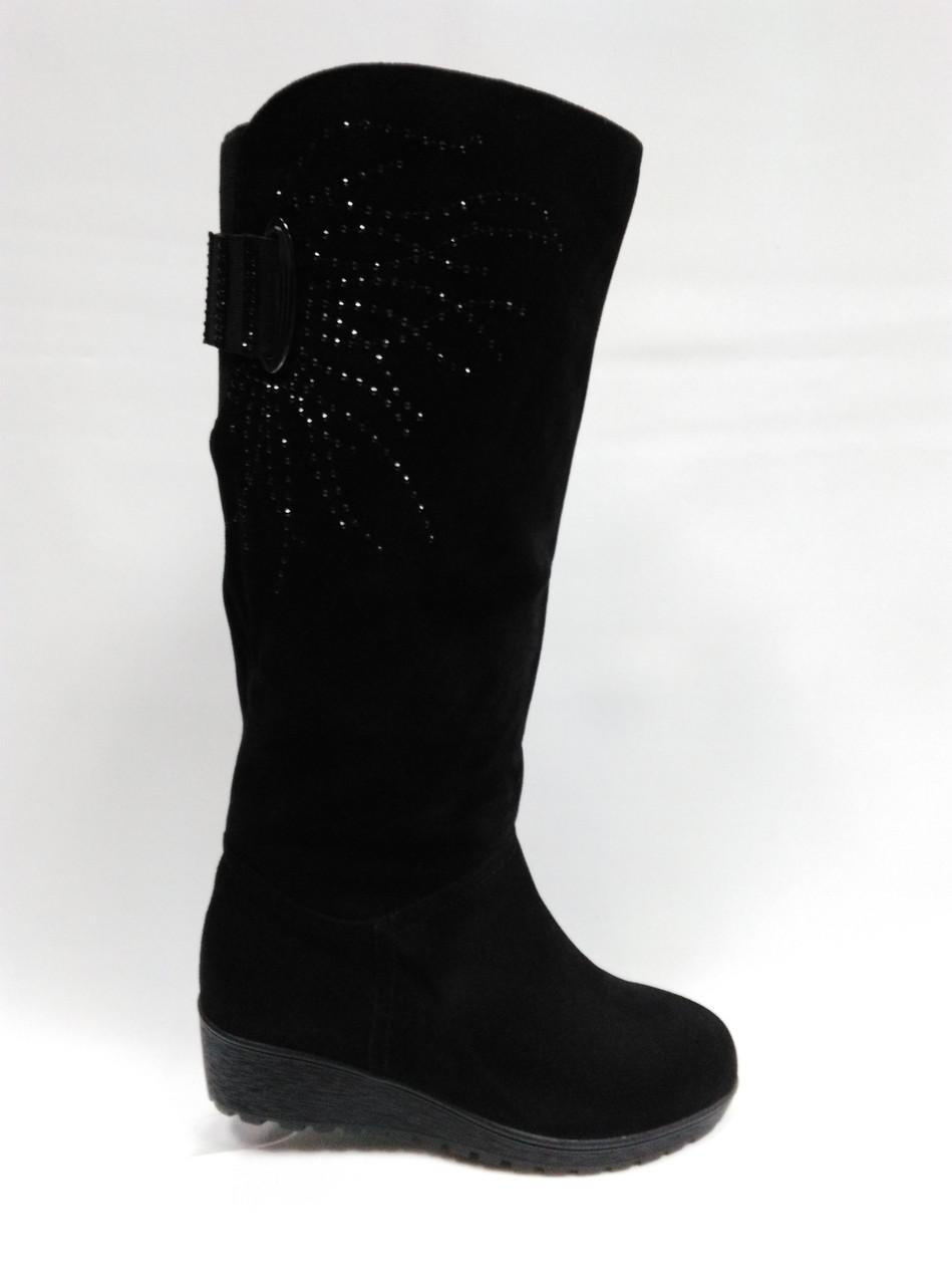 74b8ffcb7 Замшевые черные зимние сапоги с широким голенищем. - Women Shoe Shop в Ровно
