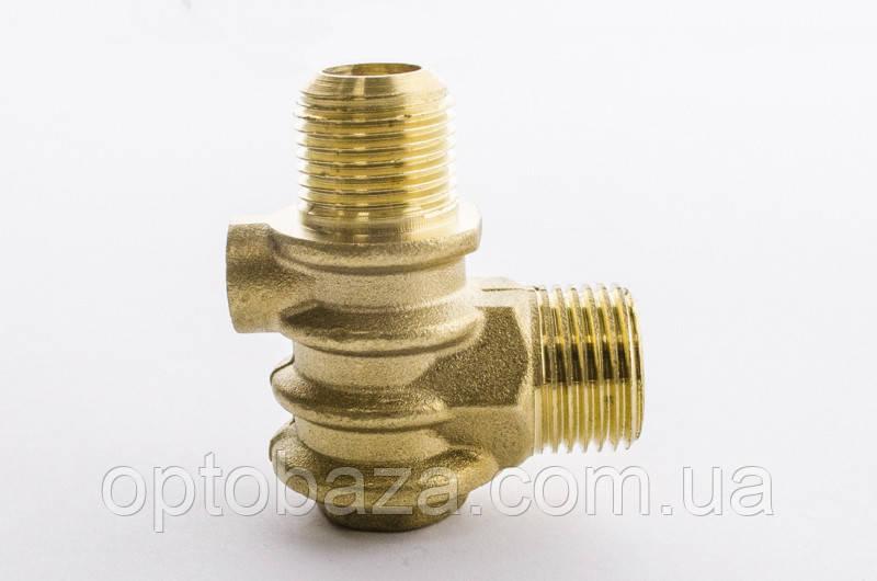 Обратный клапан Н8 (резьба наружная/внутренняя) большой (медный) для компрессора