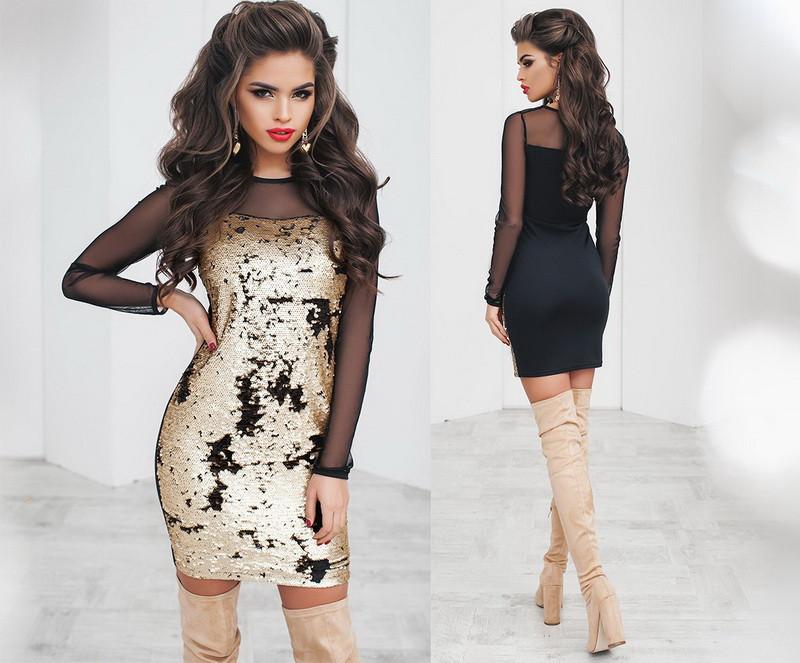 Ошатне красиве жіноче плаття двостороння пайетка сітка трикотаж +кольору