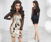 Ошатне красиве жіноче плаття двостороння пайетка сітка трикотаж +кольору, фото 1