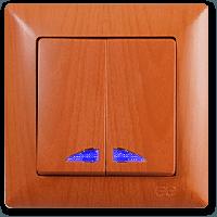 Visage Дуб Выключатель 2-х клавишный с подсветкой