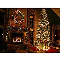 5x7ft Рождественская елка Камин Цветы Фото Фон Фотосъемка