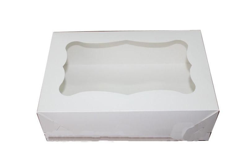 Коробка для кондитерских изделий (капкейков, кексов и маффинов) 330х255х110 (с окошком) мм.