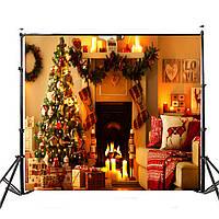 5x7ft Виниловый теплый свет Рождественская елка Камин Сток фото Фон фоны Студия