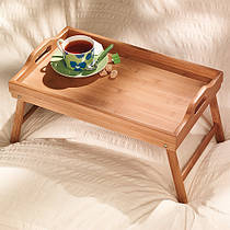 Бамбуковый столик для завтрака в постели, поднос с раскладными ножками Кофе в постель