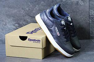 Мужские кроссовки Reebok кожаные,темно синие с белым 44р, фото 2