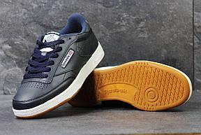 Мужские кроссовки Reebok кожаные,темно синие с белым 44р, фото 3
